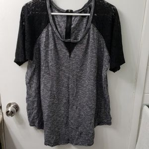 Torrid blouse with lace sleeves